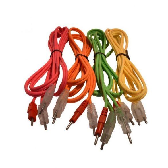 Compex 4 db-os elektróda összekötő kábel szett nem bepattintós (Normál Pin Csatlakozóval) 4-Pines, Színes, Neon