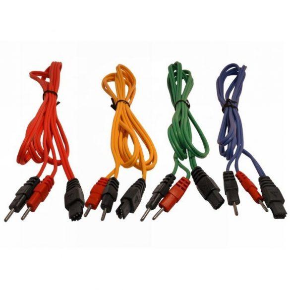 Compex 4 db-os elektróda összekötő kábel szett nem bepattintós (Normál Pin Csatlakozóval) 6-Pines, Színes