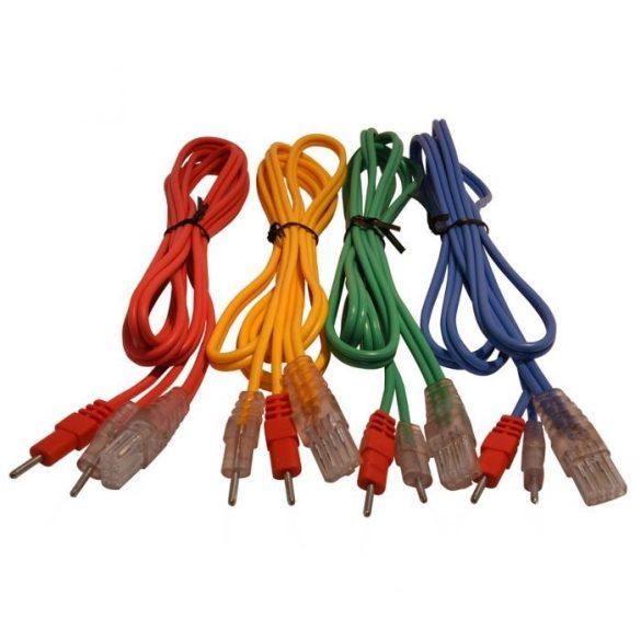 Compex 4 db-os elektróda összekötő kábel szett nem bepattintós (Normál Pin Csatlakozóval) 8-Pines, Színes, Színes